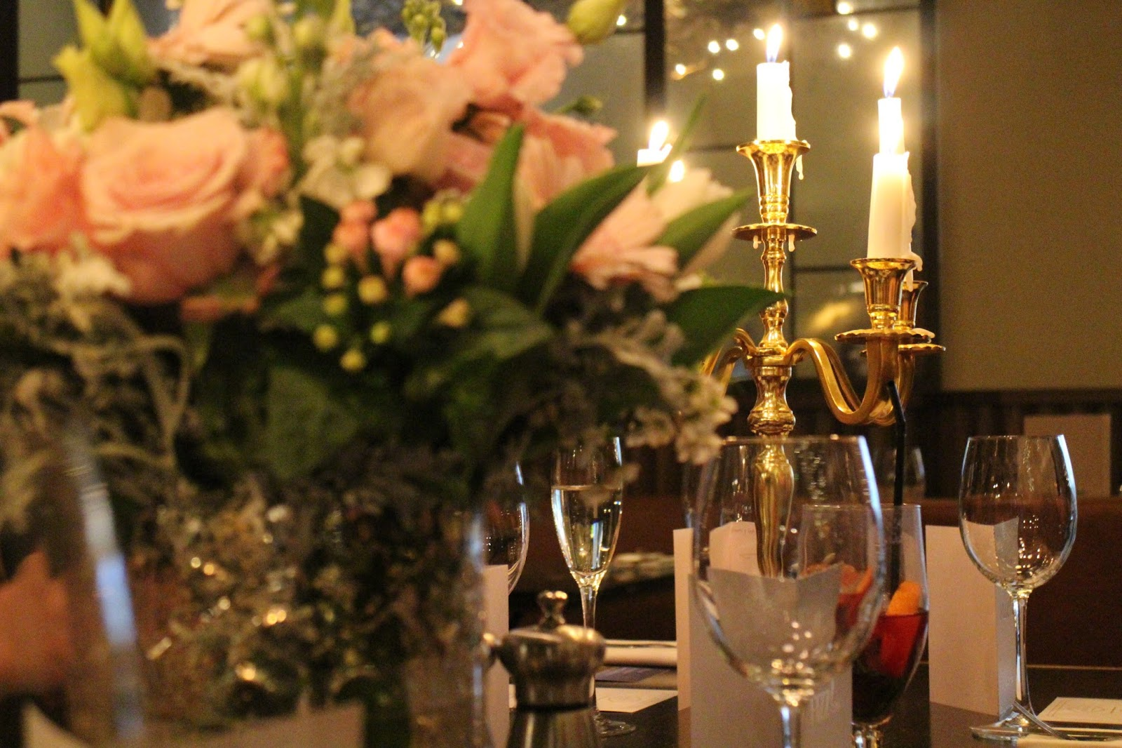 Candelabra restaurant set-up at Gusto, Leeds | The Dress Diaries