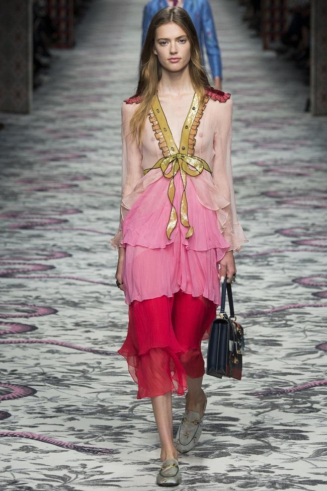 Gucci 2016 SS Pink Embroidered Chiffon Dress on Runway