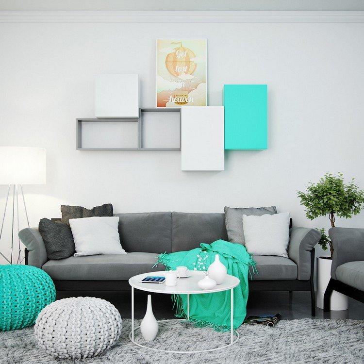 wohnzimmer grau weiß türkis | minimalistische haus design - Wohnzimmer Weis Grau Turkis