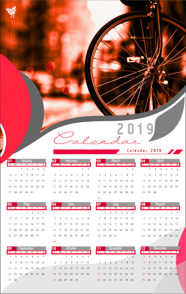 005 Calendar 2019 Printable Template Design AI Vector cdr | bike