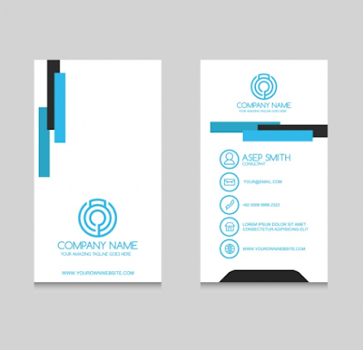 Contoh Kartu Nama - Blue Business Card Design