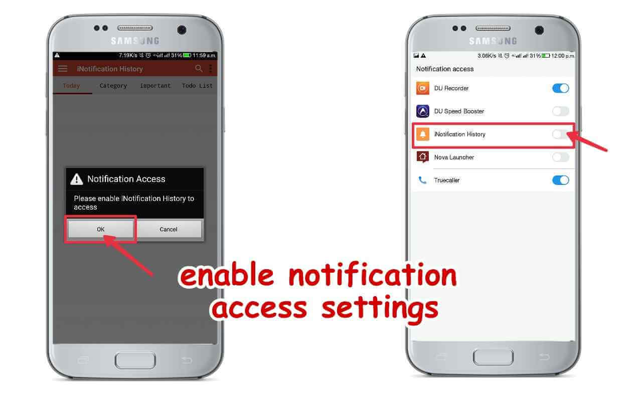Enable notification