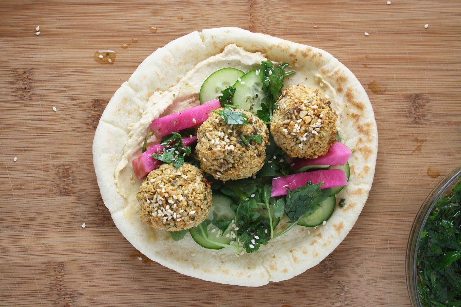 Easy Sunflower Seed Falafels with Chimichurri | Sevengrams