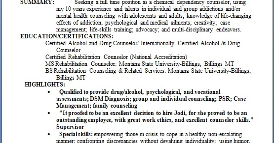 Addiction Counselor Sample Resume Format In Word Free Download