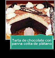 TARTA DE CHOCOLATE CON PANNA COTTA DE PLÁTANO