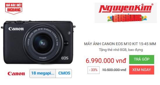 Nguyễn Kim khuyến mãi máy ảnh Canon EOS M10 KIT 15-45MM - giảm 33%