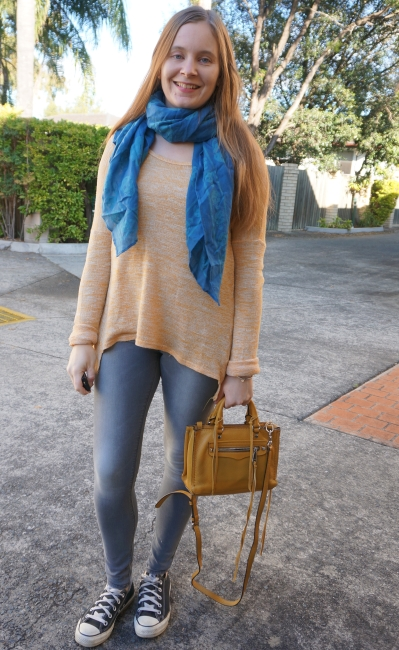 mustard knit, blue skull scarf and grey skinny jeans park playdate SAHM outfit | away from blue