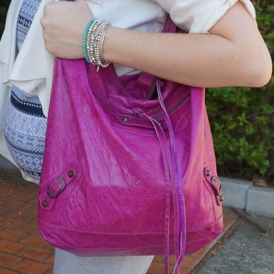AwayFromTheBlue | Balenciaga 05 magenta purple day bag silver turquoise bracelet stack