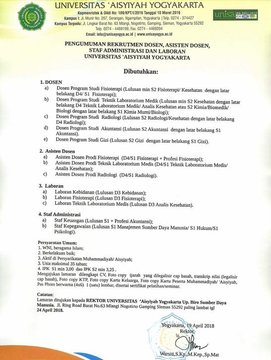 Lowongan Dosen, Laboran, Administrasi Universitas 'Aisyiyah Yogyakarta (UNISAYOGYA)