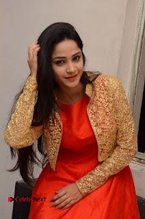 Telugu Actress Divya Nandini Stills in Orange Sleeveless Gown at Chennai Chaitrama Movie le Launch Event  0109.JPG