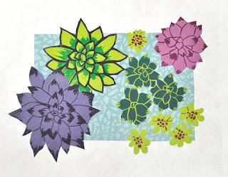 Scrumptious succulents reduction linocut original hand-made print