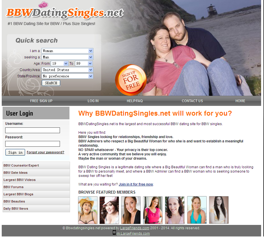 Free dating sites for bbw