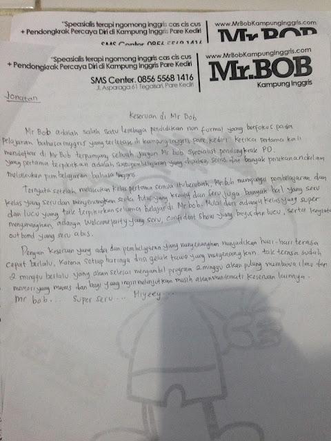 """Mr.BOB kmapung Inggris adalah salah satu lembaga pendidikan Non-formal yang berfokus pada pelajaran bahasa inggris yang terletak di kampung inggris, Pare, Kediri. Ketika pertama kali mendaftar di Mr.BOB kampung inggris. Terpampang sebuah jargon """" Mr.BOB Spesialis Pendongkrak PD """". yang pertama terpikirkan adalah suatu pembelajaran yang di paksa, serius, dan banyak penekanan dalam melakukan pembelajaran bahasa inggris."""