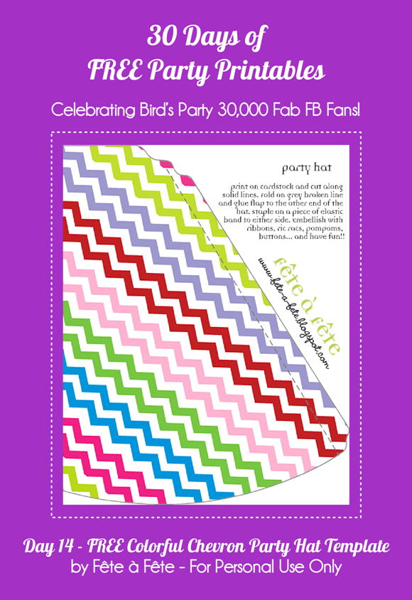 Free Printable Colorful Chevron Party Hat Template - via BirdsParty.com