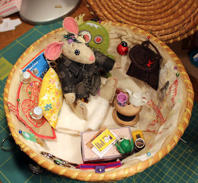 fimo, green tea, green monster, embroidery, Brother, mouse, Peanuts, Shodocks, souris, broderie