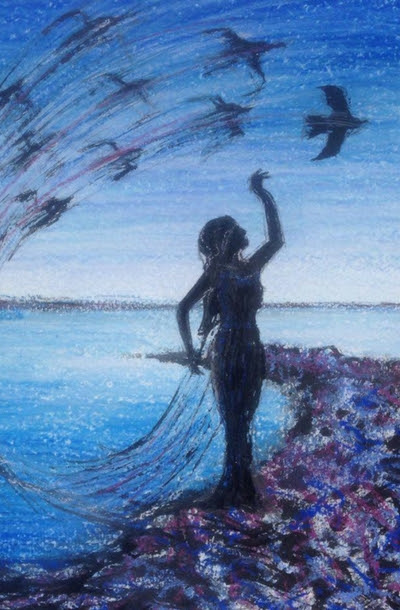 Featured Artist Anne Marie King Who Uses Watercolour and Pastel Chalks to Create Silhouette Pictures