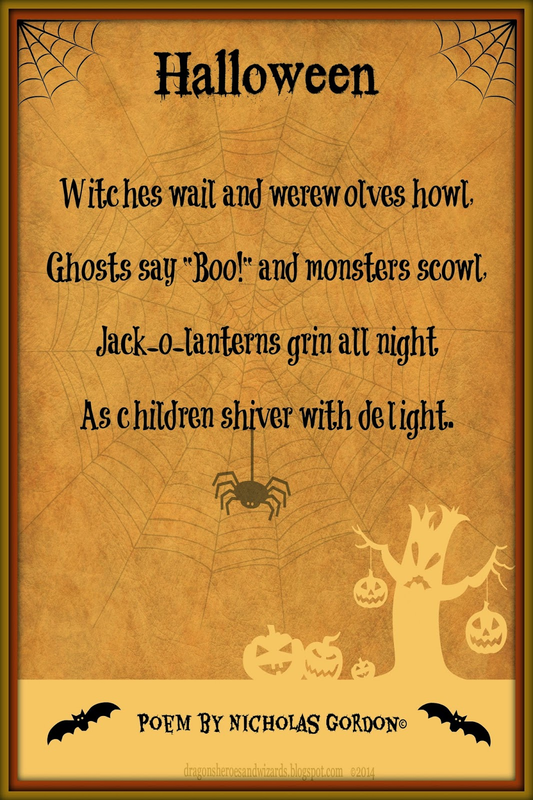 Halloween Poem by Nicholas Gordon on a background design by Mulluane