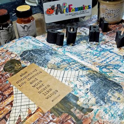 Mixed Media Mania YouTube Hop, ArtFoamies, Tattered Angels, Art Journal, Ranger Ink, Lynne Forsythe