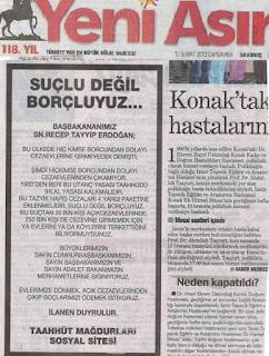 taahhüt mağdurları sosyal sitesi yeni asır gazete ilanı. Suçlu değil borçluyuz yeni asır gazete ilanı. hiç kimse borcundan dolayı hapis yatmayacak. Başbakan Recep Tayyip Erdoğan