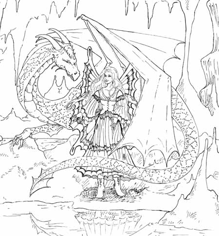 Faerie queen rose may 2013 for Dragon and fairy coloring pages