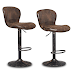 COSTWAY Vintage Bar Stool Air Lift Flexible Seat Height with Footrest