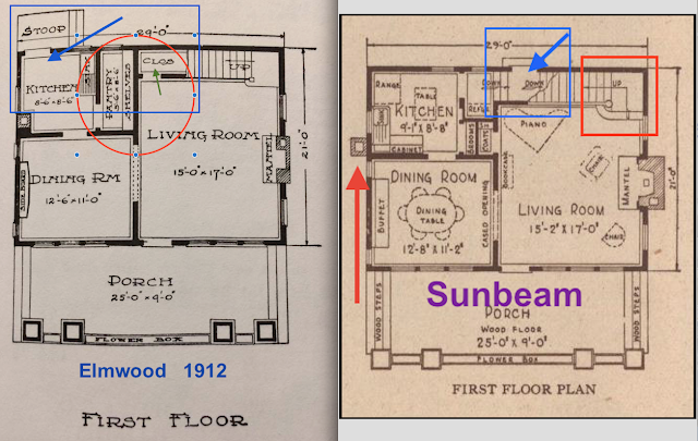 Sears Elmwood vs Sunbeam back door placement shown in catalog