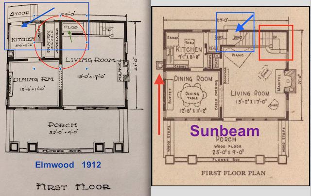 Sears Elmwood vs Sunbeam back door placement shown in catalog
