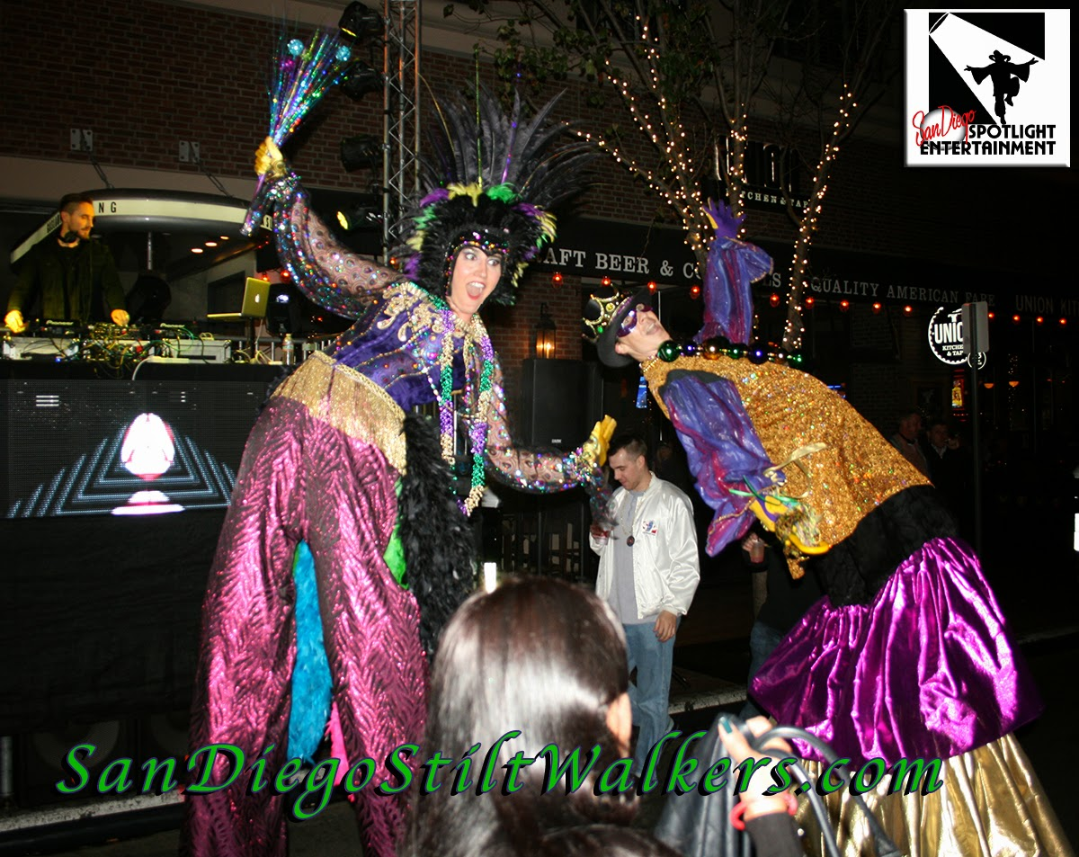 San Diego stilt walker mardi gras party gaslamp