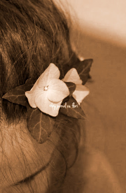 coronita de flori naturale din par vintage boho look