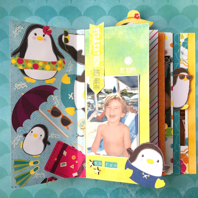 Paradise Fun Mini Album by Angela Tombari using BoBunny Make A Splash Collection