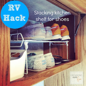 RV Hack - use kitchen stack shelves for shoe space ::OrganizingMadeFun.com