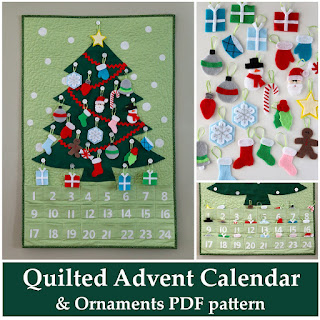 Quilted Advent Calendar and Ornaments PDF pattern