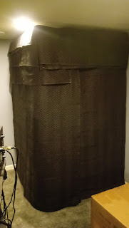 Graham Sedam, blog, thoughts, life, interests, sound booth, sound treatment, recording, sound, music, DIY, home studio, basement studio, vocal booth, packing blankets, 2x4 wood, grommets, hemp twine