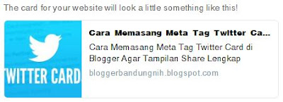 hasil twitter card preview