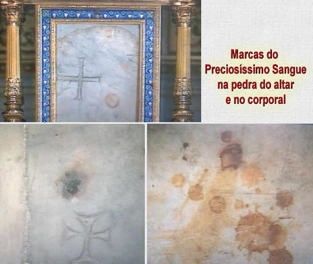 Marcas do Preciosíssimo Sangue na pedra do altar e no corporal. Milagre eucarístico de Bolsena.