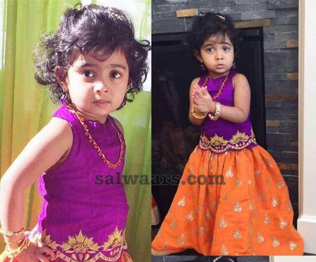 Baby in Light Orange Purple Lehenga
