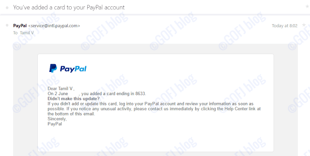 Credit or debit card linked confirmation email from PayPal