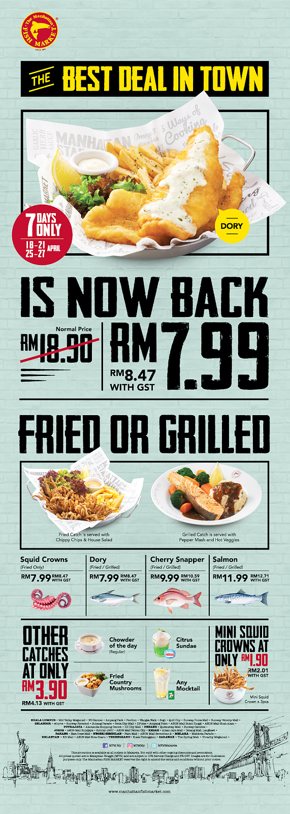 The Manhattan FISH MARKET ~ Best Deal in Town At RM 7.99 For Fish 'N' Chips
