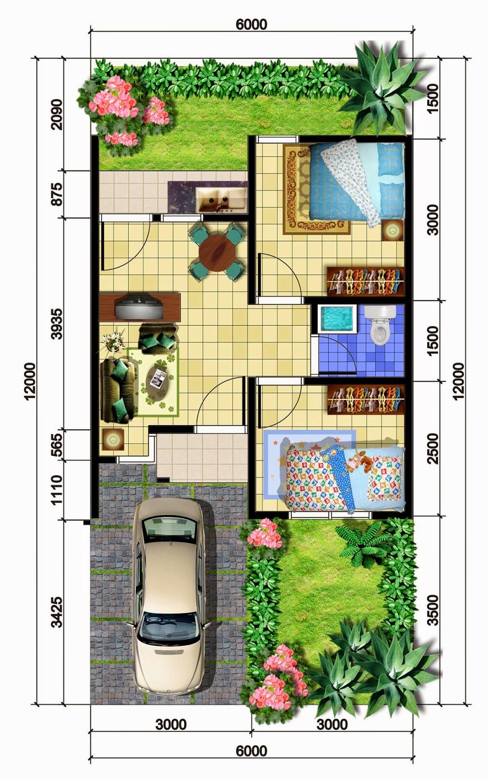 sketsa rumah sederhana dengan dua kamar