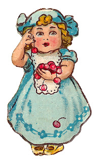 girl cherries vintage illustration digital clipart child image