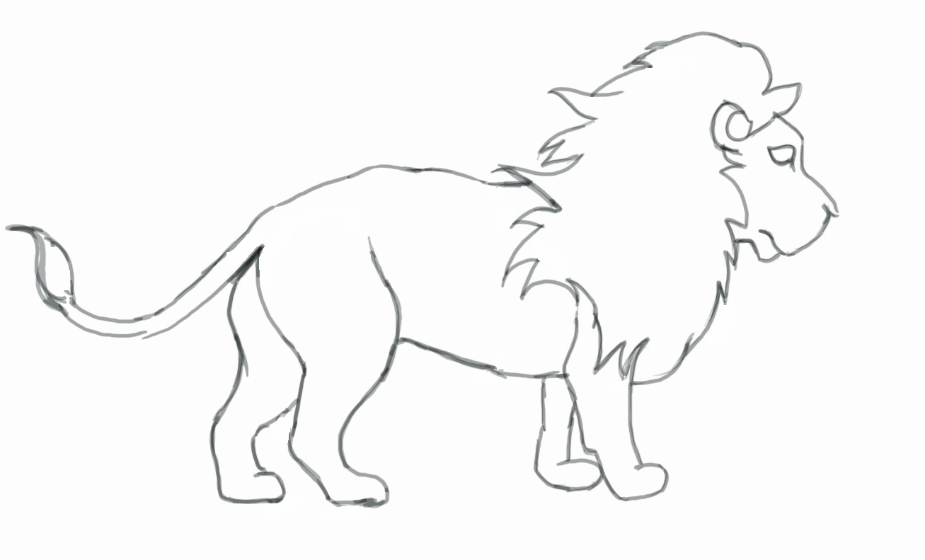 lion drawing for children