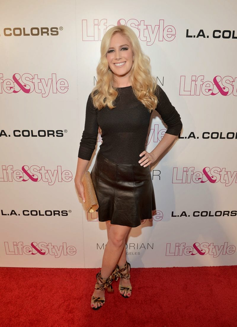 Heidi Montag flaunts legs in a leather skirt at the Life & Style Weekly's 2014 Party in West Hollywood
