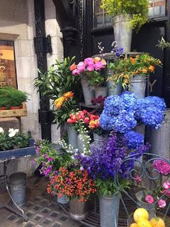Flowers outside Liberty in London