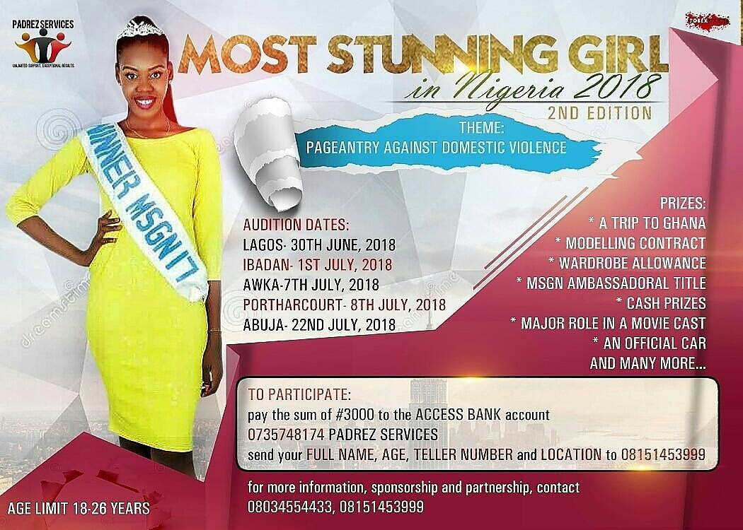 the search for the most stunning girl in nigeria 2018