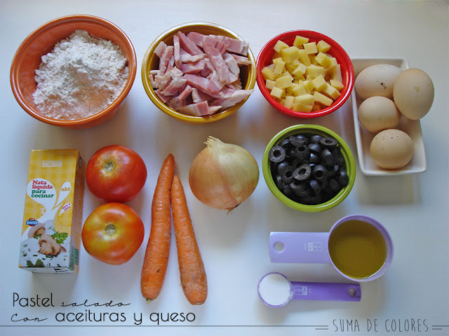 Pastel-verdura-aceituna-queso-Ingredientes