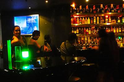 Relaxed hotel bar at night