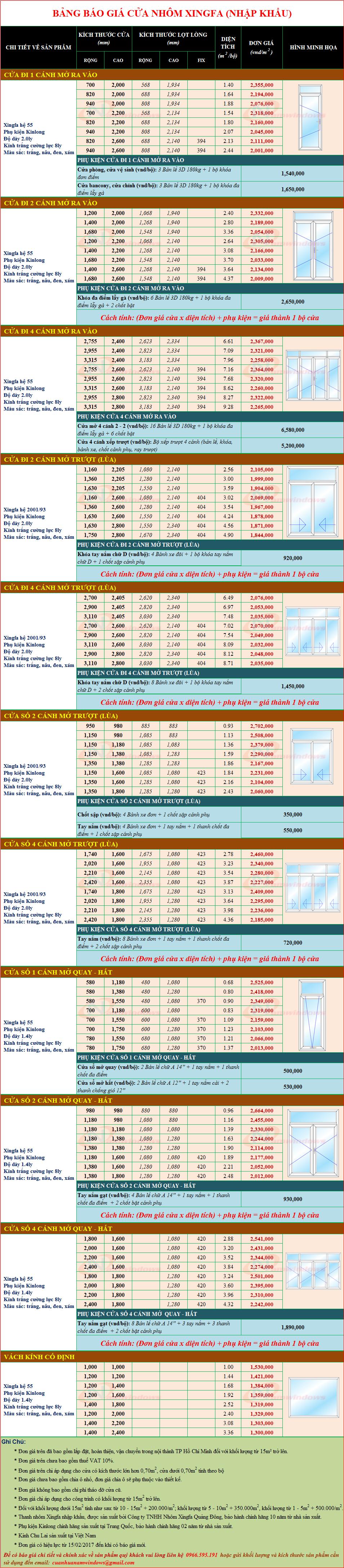 Báo Giá Cửa Nhôm Kính Cao Cấp Hệ Xingfa Tại HCM
