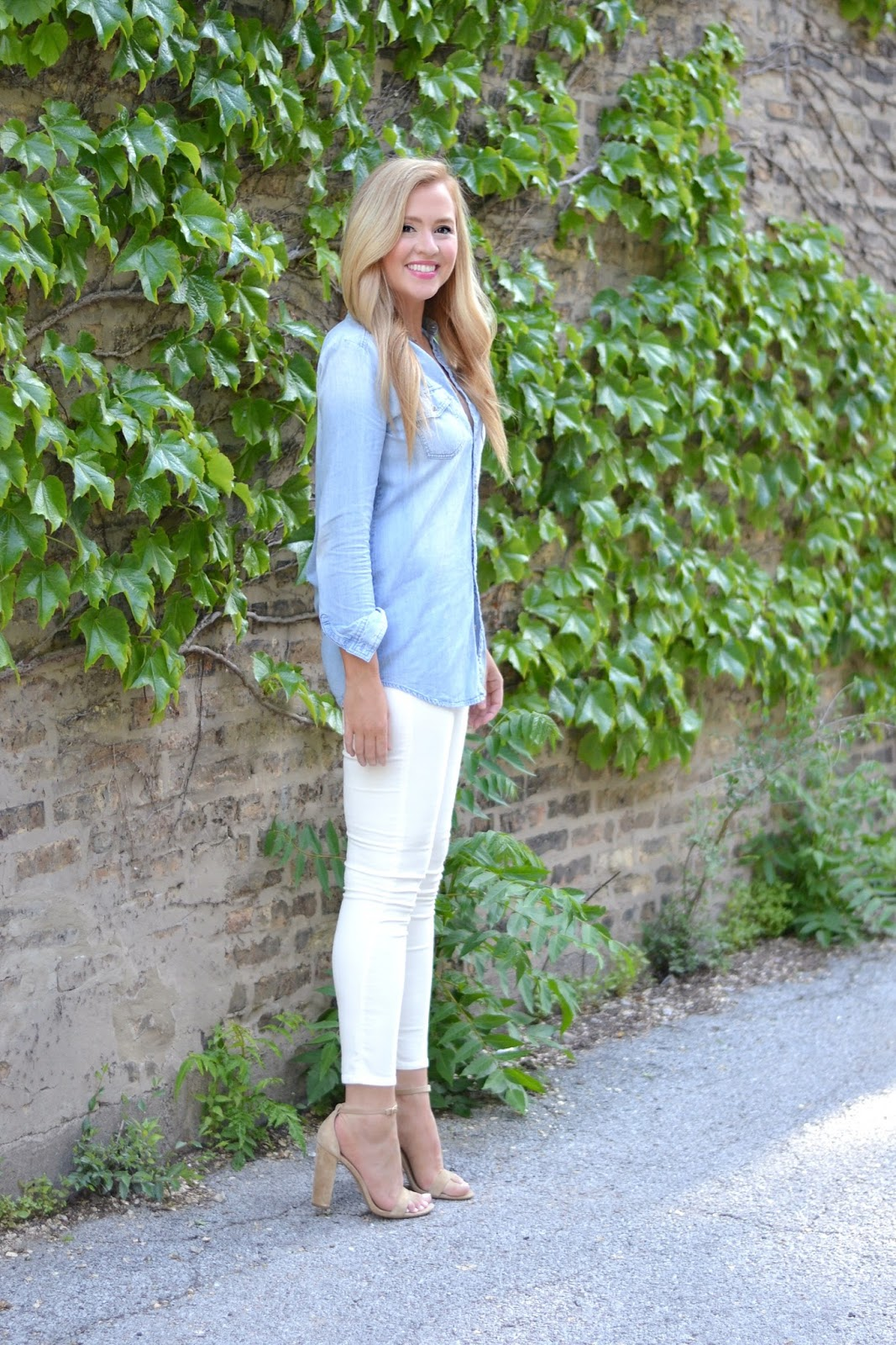 jcrew chambray shirt and white jeans