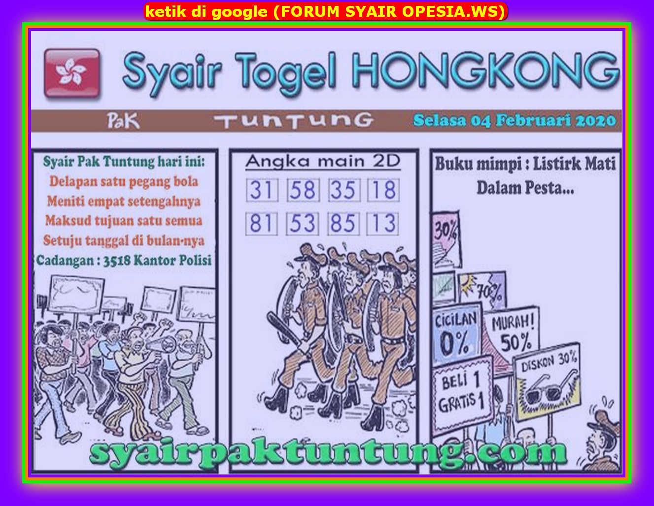 Kode syair Hongkong Selasa 4 Februari 2020 118