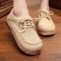 รองเท้าผ้าใบเพื่อสุขภาพ แฟชั่นเกาหลีผ้าลินินทอมือนุ่มสบาย นำเข้า ไซส์35ถึง40 สีครีม พรีออเดอร์RB2366 ราคา1450บาท